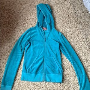 Turquoise Juicy Couture Velour Track Suit Jacket